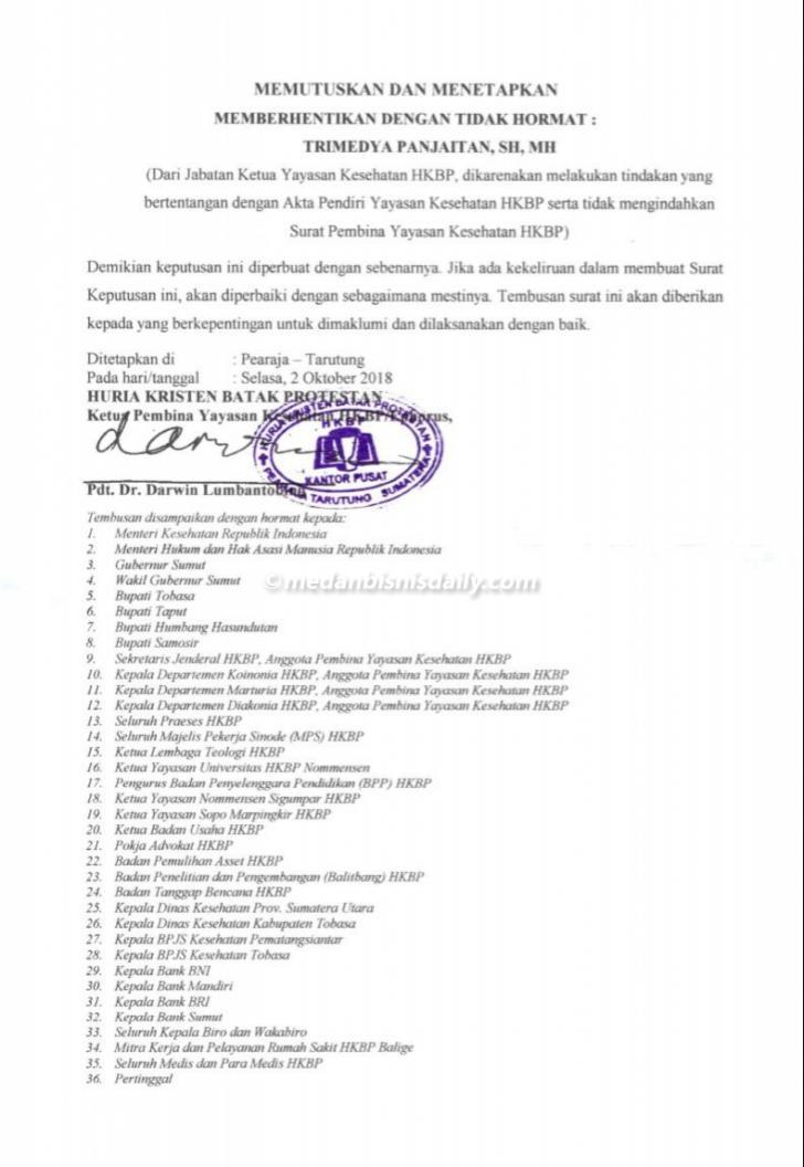 surat keputusan ephorus HKBP tekait trimedya